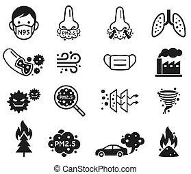 pm, vektor, staub, 2.5, mikro, icons., illustrations.