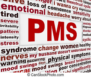 PMS medical poster design. Premenstrual problems warning...