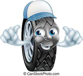 pneu, abandone, polegares, mecânico, caricatura