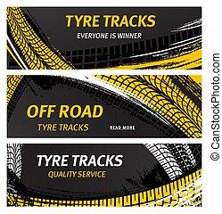 pneu, bannières, route, caractères, vecteur, pneu traque