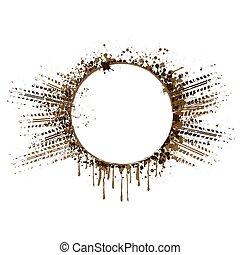 pneu, cercle, brun, pistes