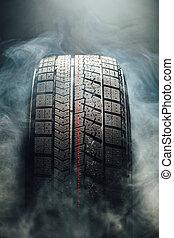 pneu, fumée, hiver