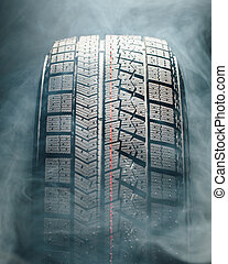 pneu, hiver, fumée