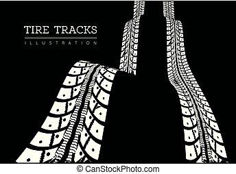 pneu, illustration, vecteur, pistes