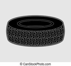 pneu, isolated., car, ilustração, borracha, vetorial, pneumático