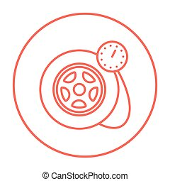 pneu, ligne, pression, icon., jauge