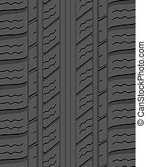 pneu, modèle, caoutchouc, vecteur, arrière-plan noir