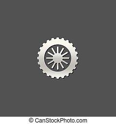 pneu, motocyclette, -, icône, métallique