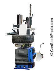 pneu, mudador, máquina