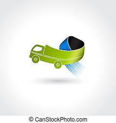 pneu, negócio, símbolo, entrega, trilhas, vetorial,...