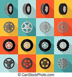 pneu plano, ícone