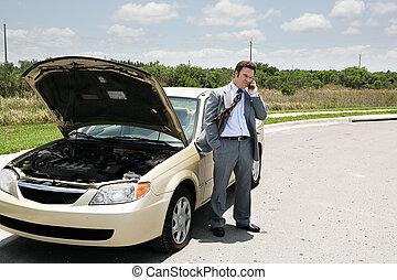 pneu plano, clube, automático, -, chamada