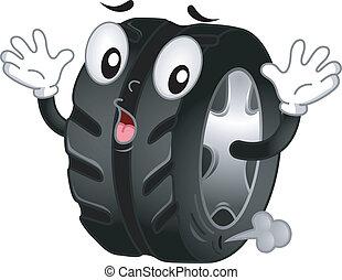 pneu plat, mascotte
