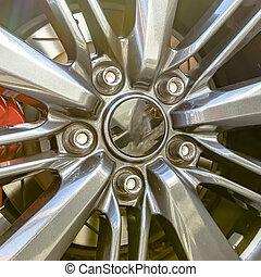 pneu, projection, bord, disque, frein, spokes, entre