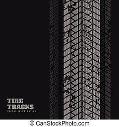 pneu, résumé, arrière-plan noir, marques, impression