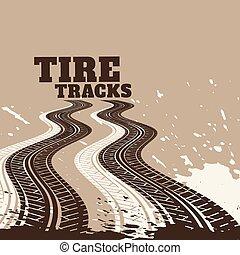 pneu, résumé, pistes, sale, fond, marques, impression