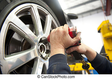 pneu, service, à, mécanicien