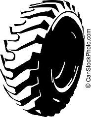 pneu, symbole, noir