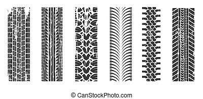 pneu, tração, raça, trilhas, correndo, automático, rastros, isolado, ícones