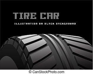 pneu, voiture, arrière-plan., vecteur, noir, marques