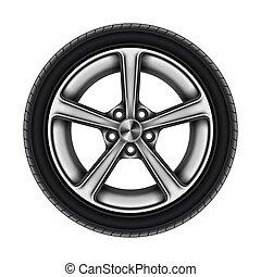 pneumático, branca, automático, isolado, roda, automóvel, ou