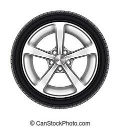 pneumático, branca, isolado, roda, ou, car, pneu