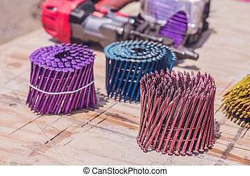 pneumático, pregos, injetor prego, multicolored