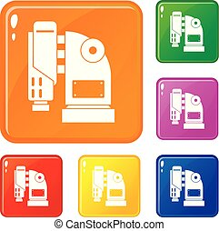 Pneumatic hammer machine icons set vector color - Pneumatic...