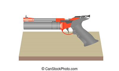 Pneumatic pistol. Air Pistol. Shooting at a target. Shooting...