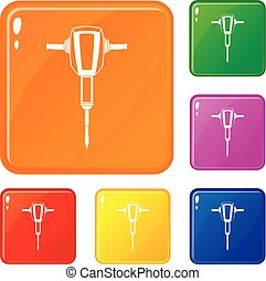 Pneumatic plugger hammer icons set vector color - Pneumatic...