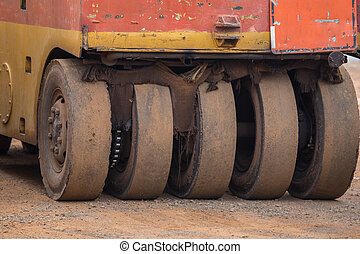 Pneumatic tyred roller compactor prepare for road repairing...