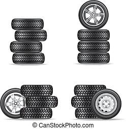 pneumatici, automobili, set