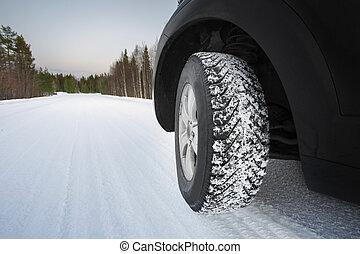 pneumatici, buono, inverno, strada, nevoso