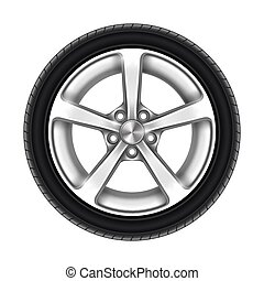 pneumatico, bianco, isolato, ruota, o, automobile, pneumatico