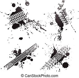 pneumatico, isolato, piste, sfondo nero, bianco