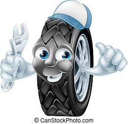 pneumatico, meccanico, cartone animato, carattere