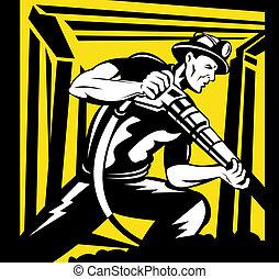 pneumatico, minatore, trapano