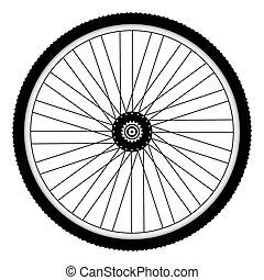 pneumatico, ruota, armato punte, retro, bicicletta