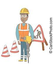 pneumatique, hammer., constructeur, jeune, africaine, utilisation