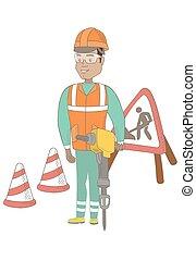 pneumatique, hammer., constructeur, jeune, hispanique, utilisation