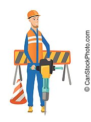 pneumatique, hammer., constructeur, jeune, utilisation, caucasien
