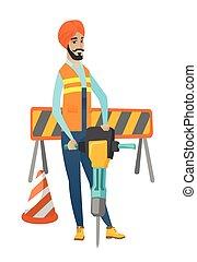 pneumatique, hammer., hindou, constructeur, jeune, utilisation