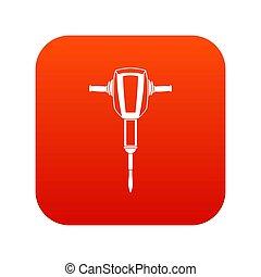 pneumatique, numérique, plugger, marteau, rouges, icône