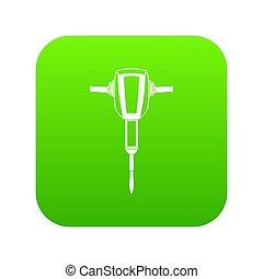 pneumatique, vert, numérique, plugger, martelez icône