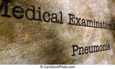 pneumonia, examen médical
