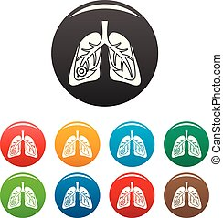 Pneumonia lungs icons set color