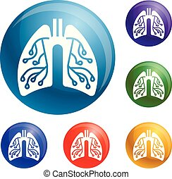 Pneumonia lungs icons set vector