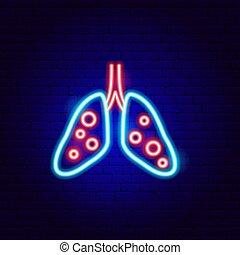 pneumonia, segno, neon, polmone