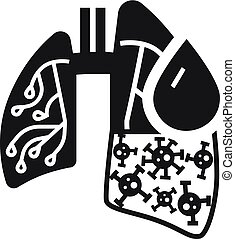 Pneumonia virus lungs icon, simple style