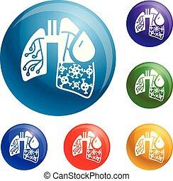 Pneumonia virus lungs icons set vector